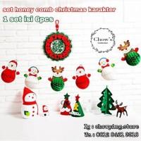 Set Dekorasi Natal Honey Comb Karakter Christmas