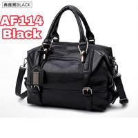 TAS WANITA TOTE HAND BAG WAIST BAG SHOULDER KULIT PU DOCTOR IMPORT 114 - Hitam Black