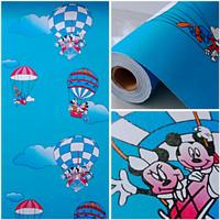 Harga wallpaper sticker dinding indah kartun anak biru mickey mouse | antitipu.com