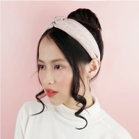 Bando - Knotted Wide Side Lace Headband Floral Pink