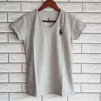T-shirt Kuda Polo V neck Bahan spandek halus/kaos wanita/tshirt casual