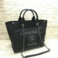PRODUCT ORIGINAL TAS CHANEL DEAUVILLE SHOPPER CAVIAR LEATHER BLACK d35ac2152f