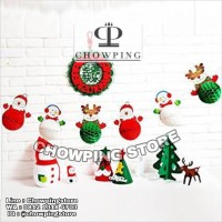 Set Dekorasi 6 Mini Honeycomb Garland Karakter Natal Merry Christmas