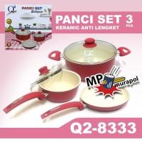 Q2-8333 PANCI WAJAN KERAMIK ANTI LENGKET PANCI SET Q2 8333 ISI 3