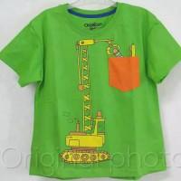Baju kaos karakter anak laki-laki crane hijau 1-6