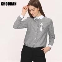 Kemeja Burberry Atasan Catty Baju Casual Wanita Kekinian