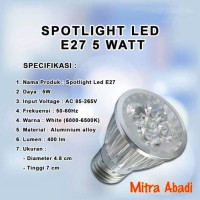 Lampu Sorot LED Halogen/Spotlight LED 5W Putih 6000-6500K Fitting E27