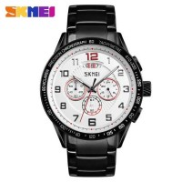 ORIGINAL SKMEI Jam Tangan Pria Rantai Anti Air Casual LED Casio + BOX