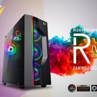 PRIME R-[V] - PREMIUM GAMING CASE 0.7mm STEEL - 3PCS RAINBOW FLOWING