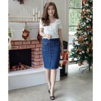 bbf9e6074468cc Rok Jeans Jumbo Wanita   Skirt Jeans Pocket Button   PREMIUM