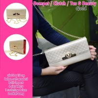 Tas Clutch Rantai Beauty gold