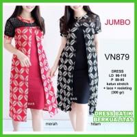 Dress Batik Wanita Big Size Dress Batik Modern Jumbo Terbaru Nia