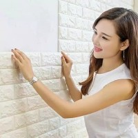 Wallpaper 3D Modern Foam Batu Bata Ukuran 70 X 77 Wall Sticker Putih