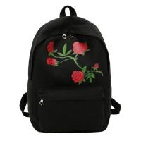 Wanita Floral Rose Cetak Ransel Besar Kapasitas Remaja Sekolah Tas