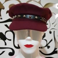 Topi hat fashion wanita maroon hitam keren import