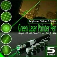 BARU DISKON BESAR senter laser hijau 5 mata green laser pointer 5 eyes