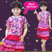 Baju Setelan Anak Perempuan Little Pineapple Rok Tumpuk Kaos Strawberr