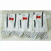 GROSIR 3PCS Setelan Suspender Mickey Putih S,M,L Serian Baju Anak Bayi