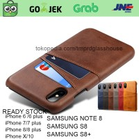 Premium Card Slot Leather Case iPhone 6/6s/7/8 plus/X casing hp kulit