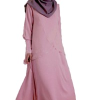Gamis fashion Pinky Style double layer J040 elegan MURAH