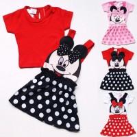 Baju Setelan Anak Bayi Perempuan Rok Polkadot Overall Minnie Mouse