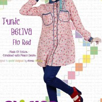 Clover Clothing Tunic Beliva Flo - Red - Blus Simple