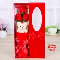 Sabun Wangi Rose RED (3 TANGKAI KOTAK) Kemasan Ekslusif (Valentine)