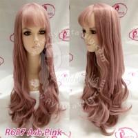 WIG LONG WAVE WAVY Gelombang Lolita Ulzzang Ash Gray Grey Pink Brown