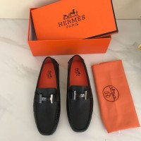 Sepatu Hermes Moccasins Flat H Buckle Hitam Mirror 2018-XY048