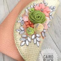 Clutch Cairo Peach + Tali Rantai Cantik + Box Ekslusif