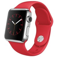 GROSIR Apple Watch 2015 42mm Stainless Steel Case with RED Sport Band