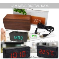 JAM MEJA KAYU 12 CM - digital led wooden desktop clock