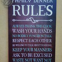 Poster Kayu Wall Home Decor Unik Vintage - Dinner Rules 109 777d9ff02f