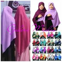 Hijab Besar Jilbab Khimar Syari segi empat bahan bolak balik 115X115