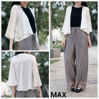 Cardigan Wanita Branded - Max Glittered White Openfront