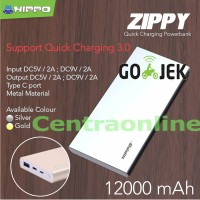 Hippo Power Bank Zippy 12000 MAH Fast Quick Charging 3.0 Type C Suppor