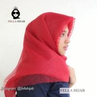 Hijab jilbab kerudung segiempat wedding organza dot premium