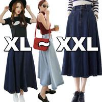 (BIGSIZE XL-XXL#6065)Circle Pocket Denim Flare Skirt/Rok Jeans Wanita/