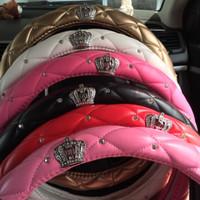 Sarung Cover Stir Setir Mobil Mahkota Crown DAD Premium Bahan Kulit