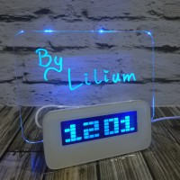 Jam digital - clock led digital memo board + spidol