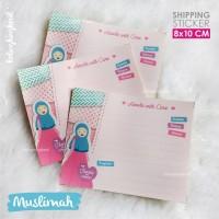 Stiker Pengiriman Online Shop - Muslimah - Pink - 8x10 cm