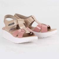 Sandal Sendal Wedges Tali Wanita Cewek Cewe Krem Pink LTE 506 BY