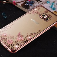 Kesing HP Samsung Galaxy S6,S6 EDGE S7 Flower Diamond Softcas