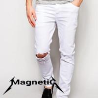 jeans ripped putih pria / celana sobek pria