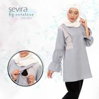 Sevira silver grey baju atasan tunik kerja formal wanita warna abu
