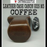 LEATHER CASE COVER CAMERA BAG TAS KAMERA CANON EOS M3 M 3 - COFFEE