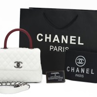 Tas Chanel Coco Top Handle Caviar Mini PUTIH-Maron AC1147