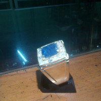 Cincin Pria Executive White Gold,Diamond & Blue Safir+Sertifikat
