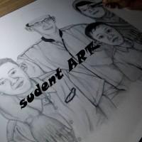lukisan sketsa pensil TEMA bersama kelurga kecil