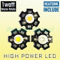 High Power Led HPL Putih Glamor 1W Warm White 1 Watt Light + Heatsink